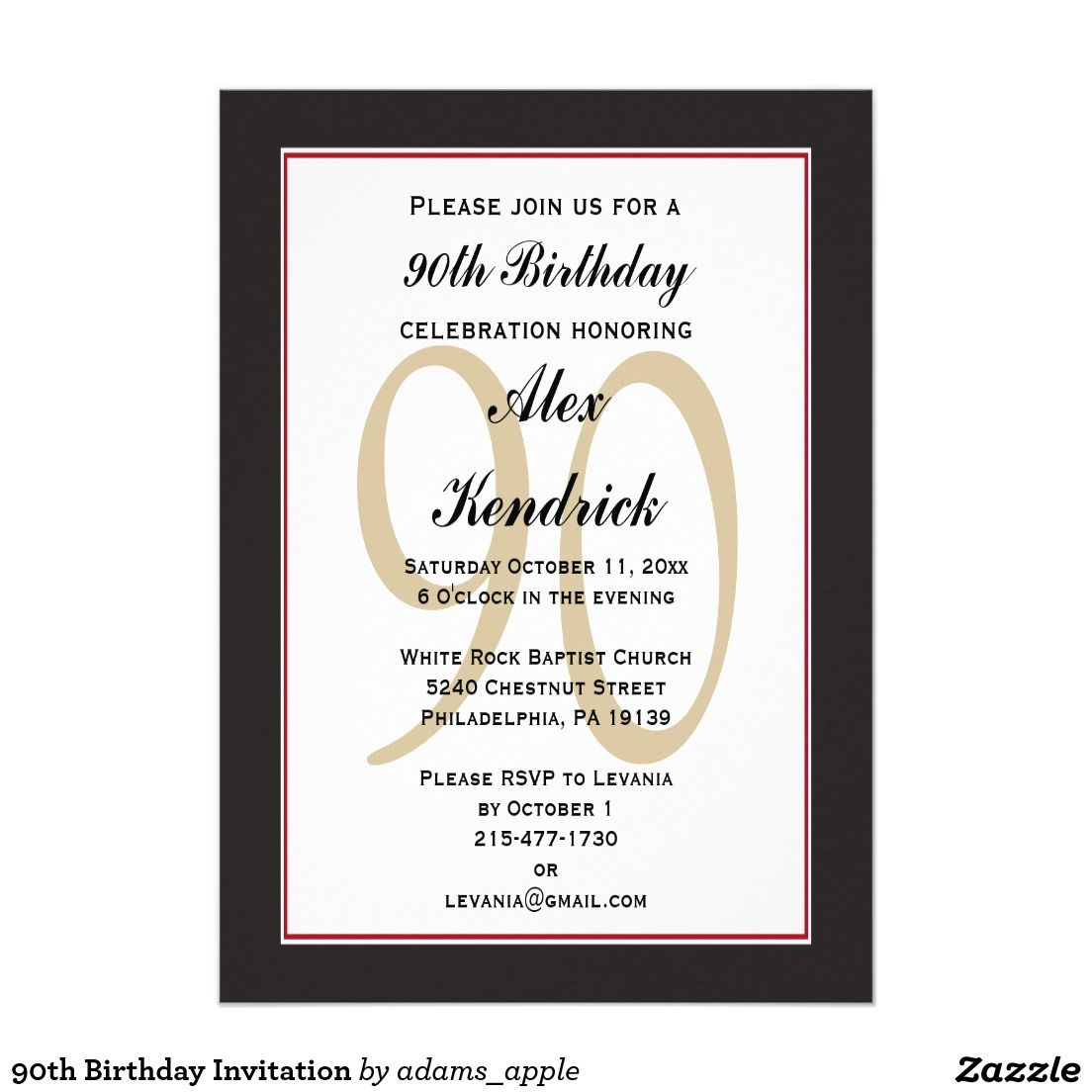 Fullsize Of 90th Birthday Invitations