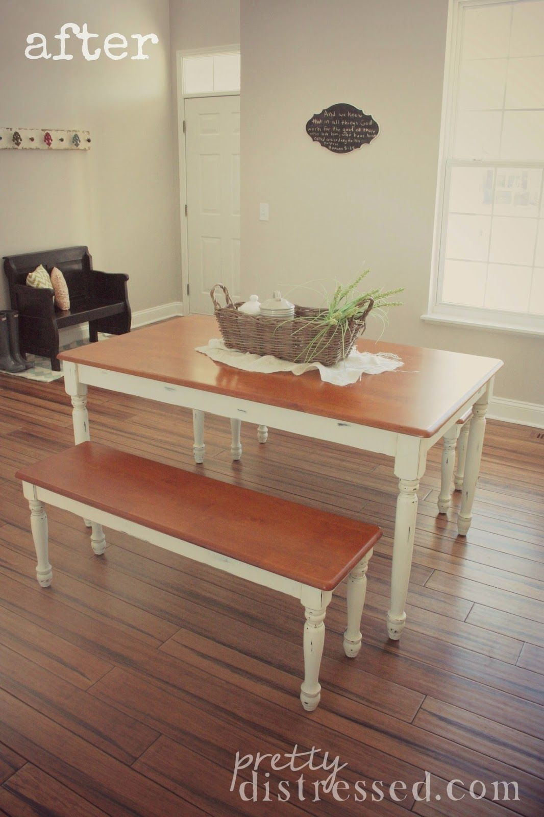 painting kitchen table Walmart Kitchen Table Makeover After Better Homes and Garden Autumn Lane Farmhouse Table is given