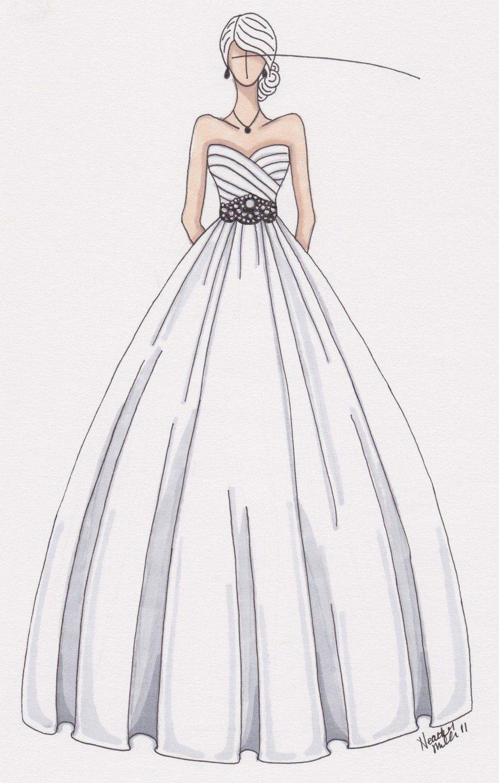 pencil wedding dresses Custom wedding gown illustration