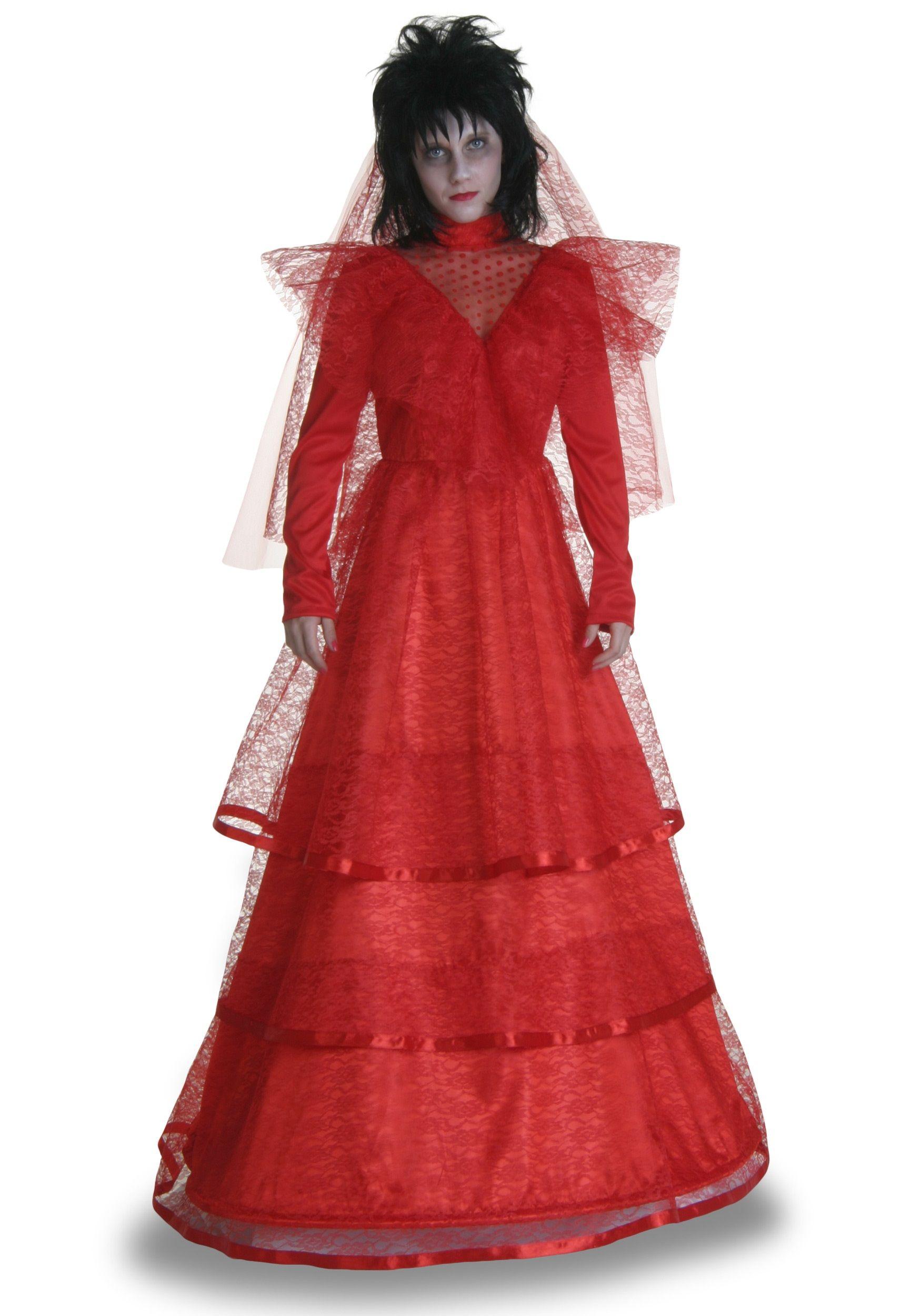 halloween wedding dresses Beetlejuice Lydia Deetz s Red Gothic Wedding Dress Halloween Party with Tim Burton