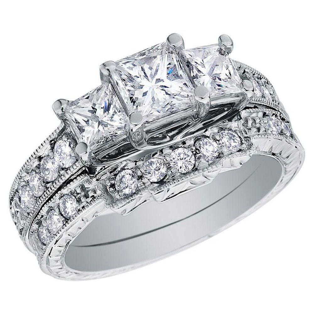 zales diamond wedding rings Three Princess Cut Diamond Rings Back to Post Wedding Rings for Women Princess Cut