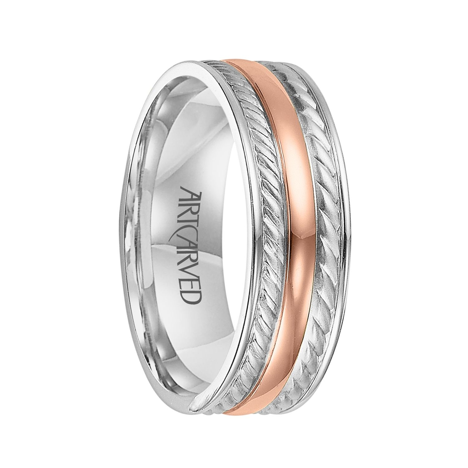 mens gold wedding band ArtCarved Rings DIXON Two Tone 14K White Gold Ring with Rose Wedding Rings Rose GoldMen