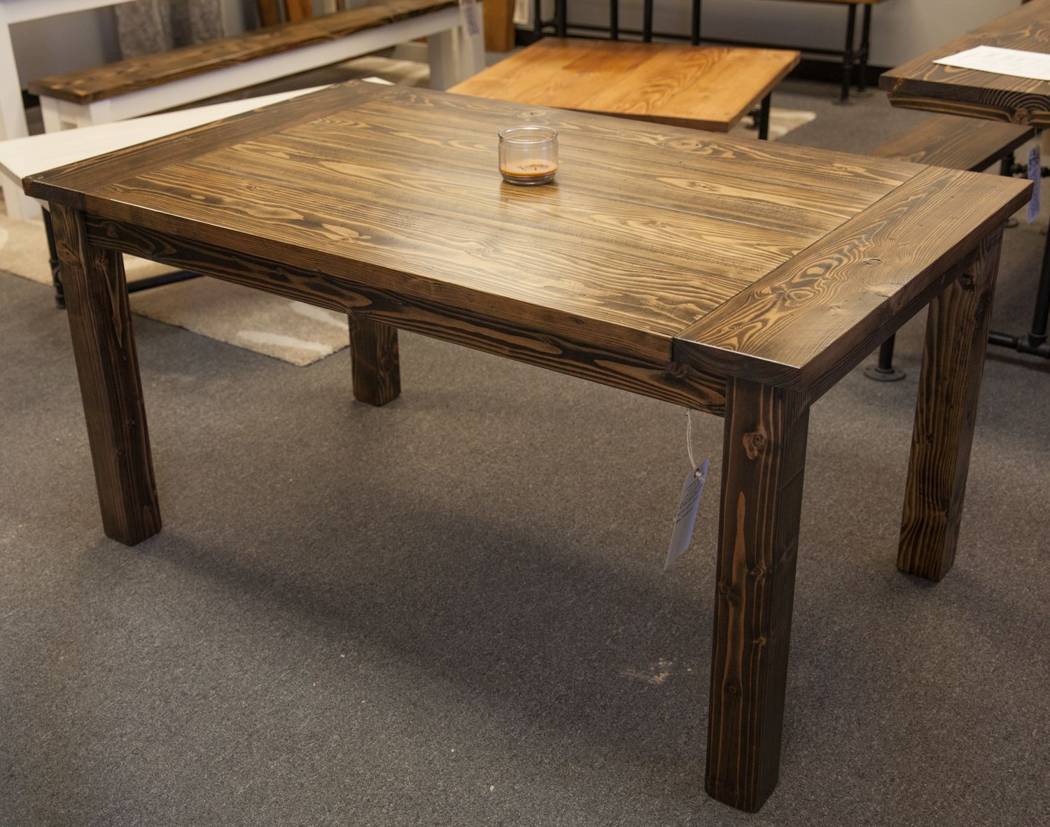 rustic kitchen tables Solid wood farmhouse table with breadboards Distressed dark walnut top Kitchen table Dining