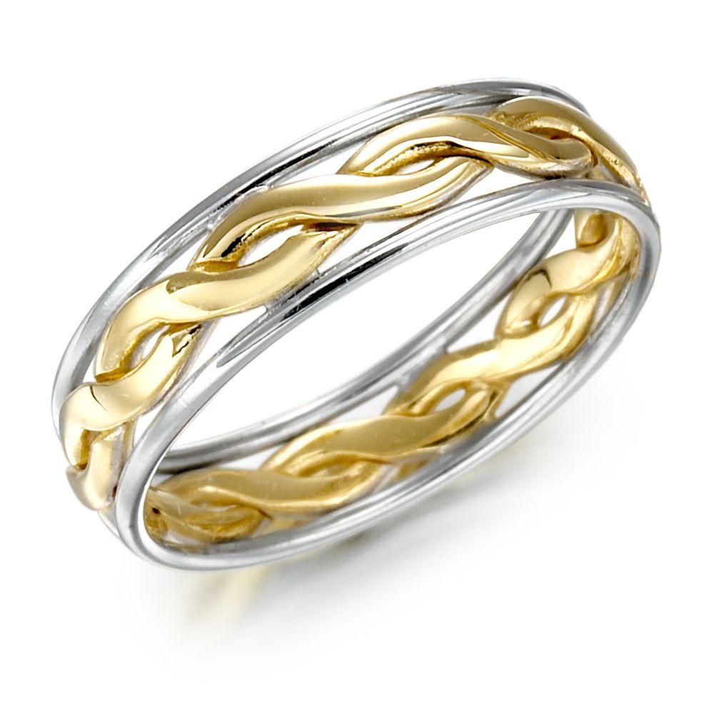 male wedding rings Irish Wedding Ring Mens Gold Two Tone Celtic Knot Wedding Band