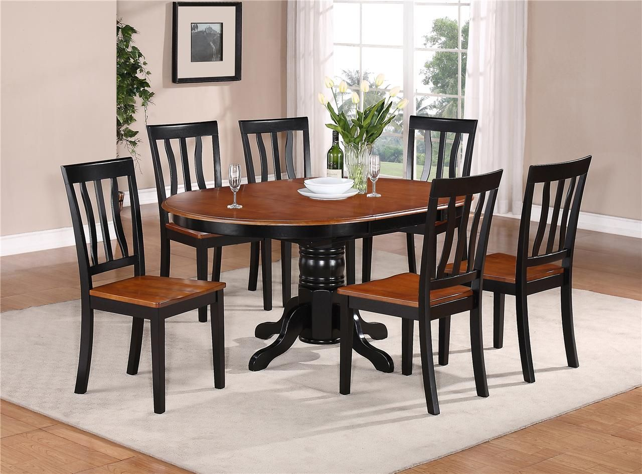 kitchen table and chairs 7 PC OVAL DINETTE KITCHEN DINING SET TABLE w 6 WOOD SEAT CHAIRS IN BLACK CHERRY