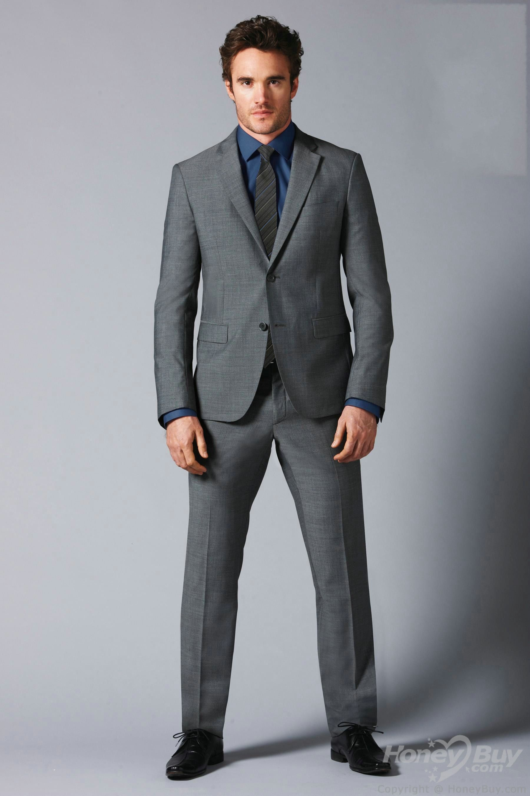 wedding suits Double Buttons Notch Lapel Grey Suits for Wedding Groom