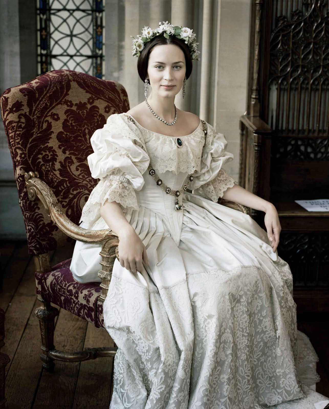 victorian wedding dress Emily Blunt as Queen Victoria in her wedding dress