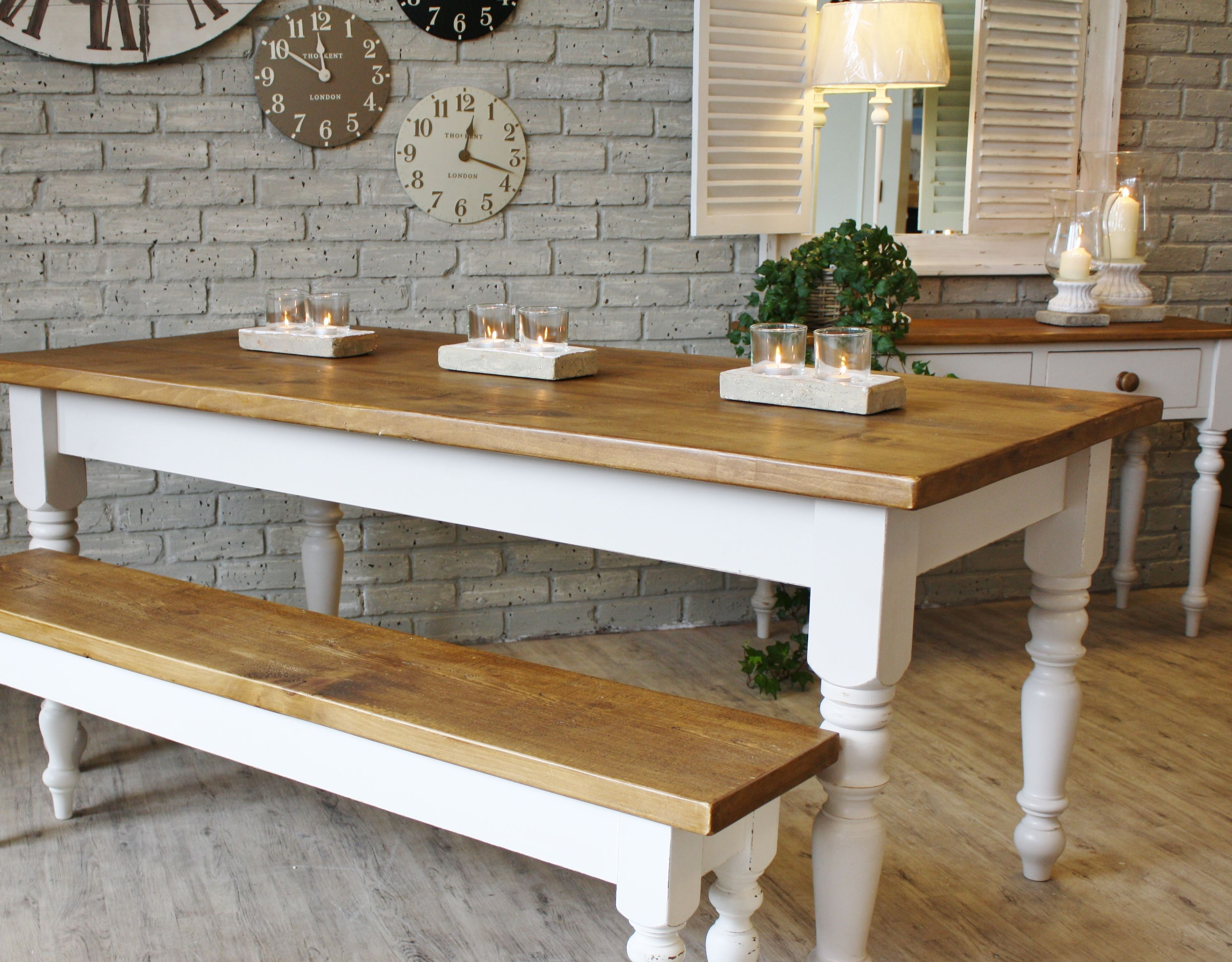 kitchen table bench white and cream farmhouse White Cream Farmhouse Wooden Kitchen Tables with Candle Holders