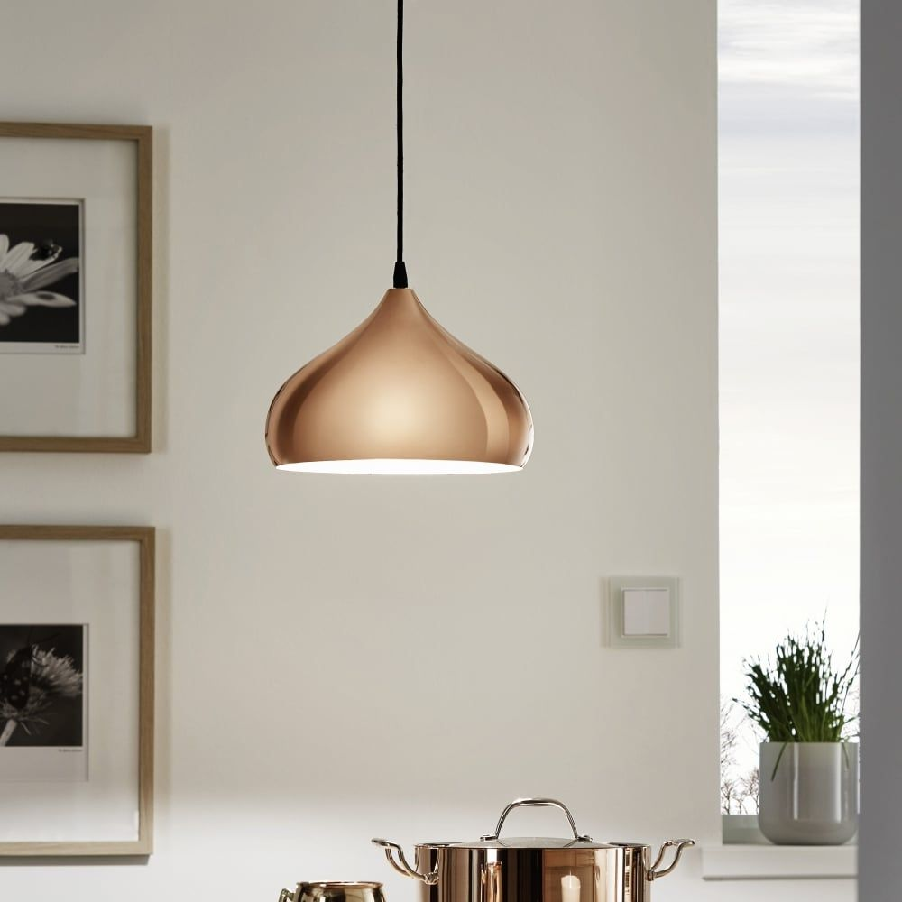 copper pendant light kitchen Eglo Eglo Hapton Polished Copper Pendant Light