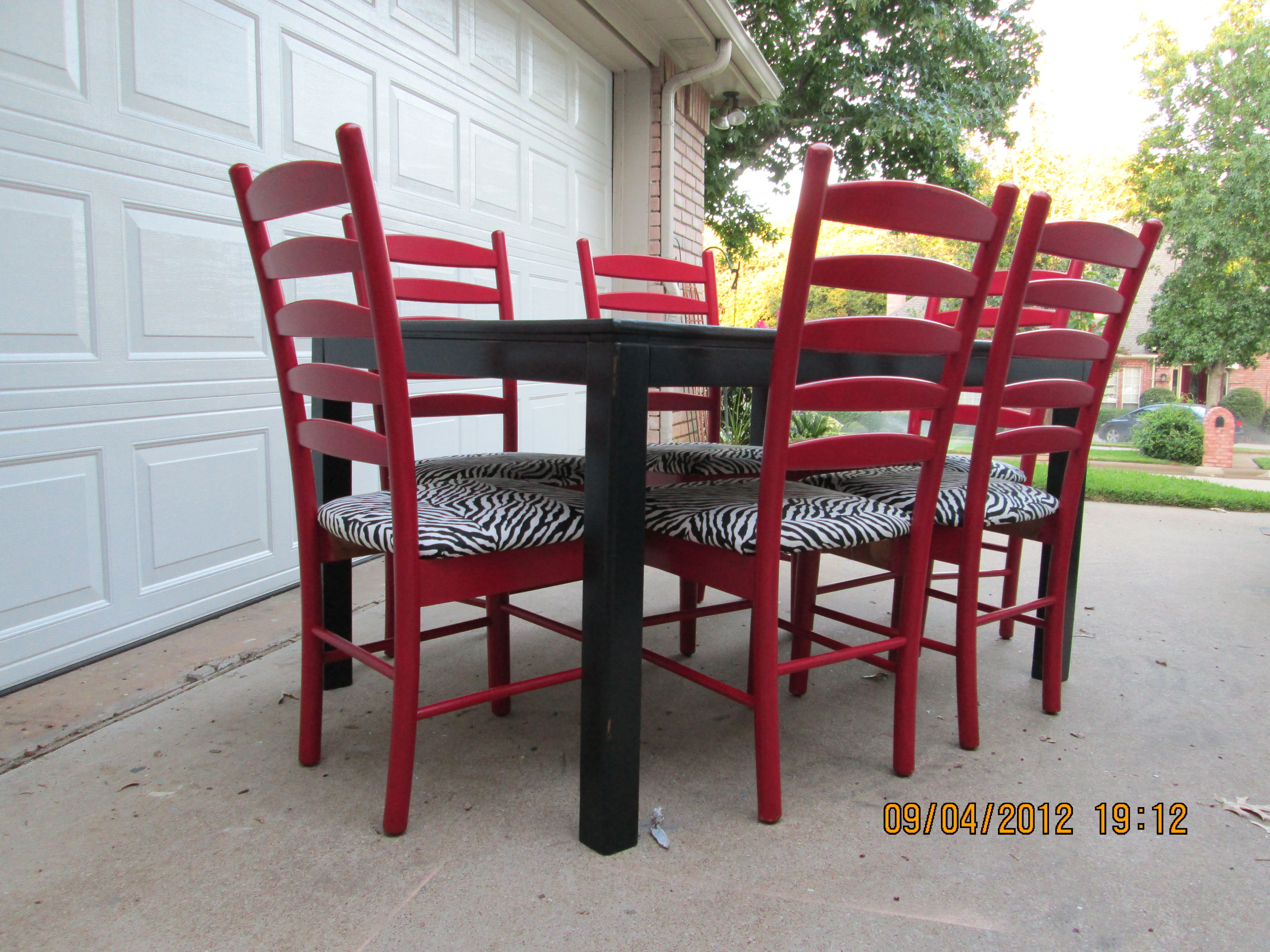 red kitchen chairs Black dining table with red ladder back chairs lightly distressed Shabby Chic Distressed