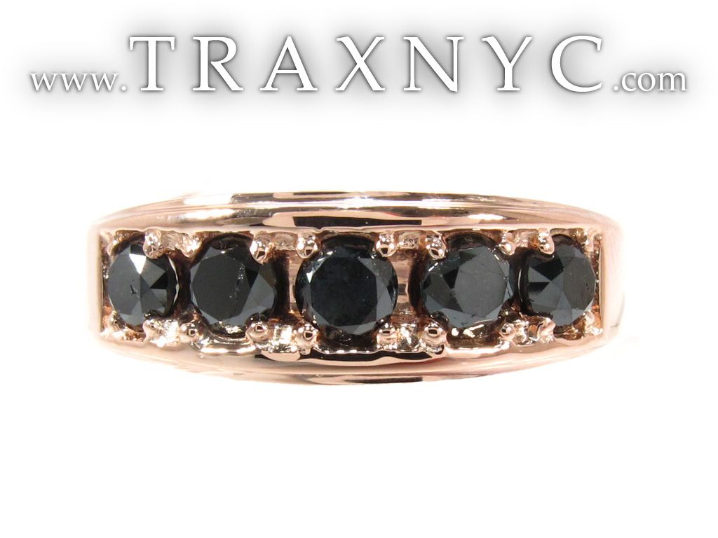 black mens wedding rings Rose Gold Black Diamond Ring Mens Diamond Ring Rose Gold 14k Round Cut 1 20 ct