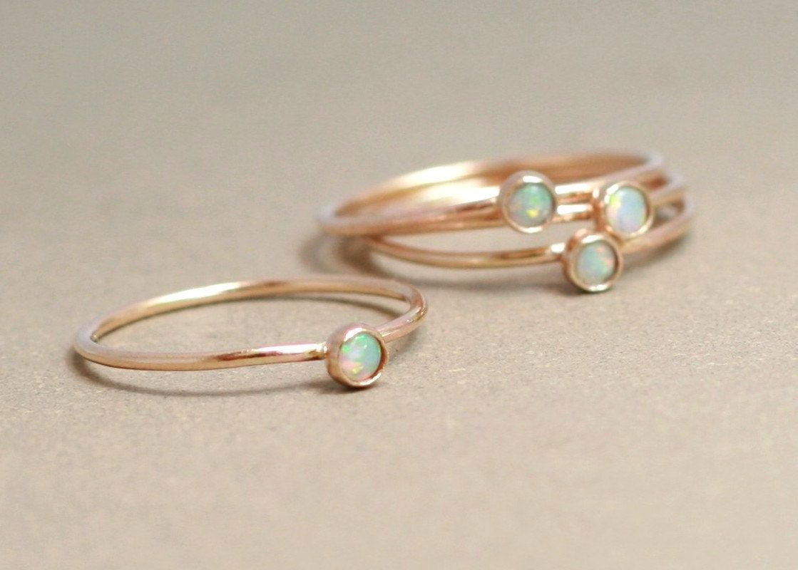 delicate wedding bands gold opal ring birthstone ring mothers ring ONE dainty stackable ring 14k gold filled engagement ring stacking ring mothers day gift