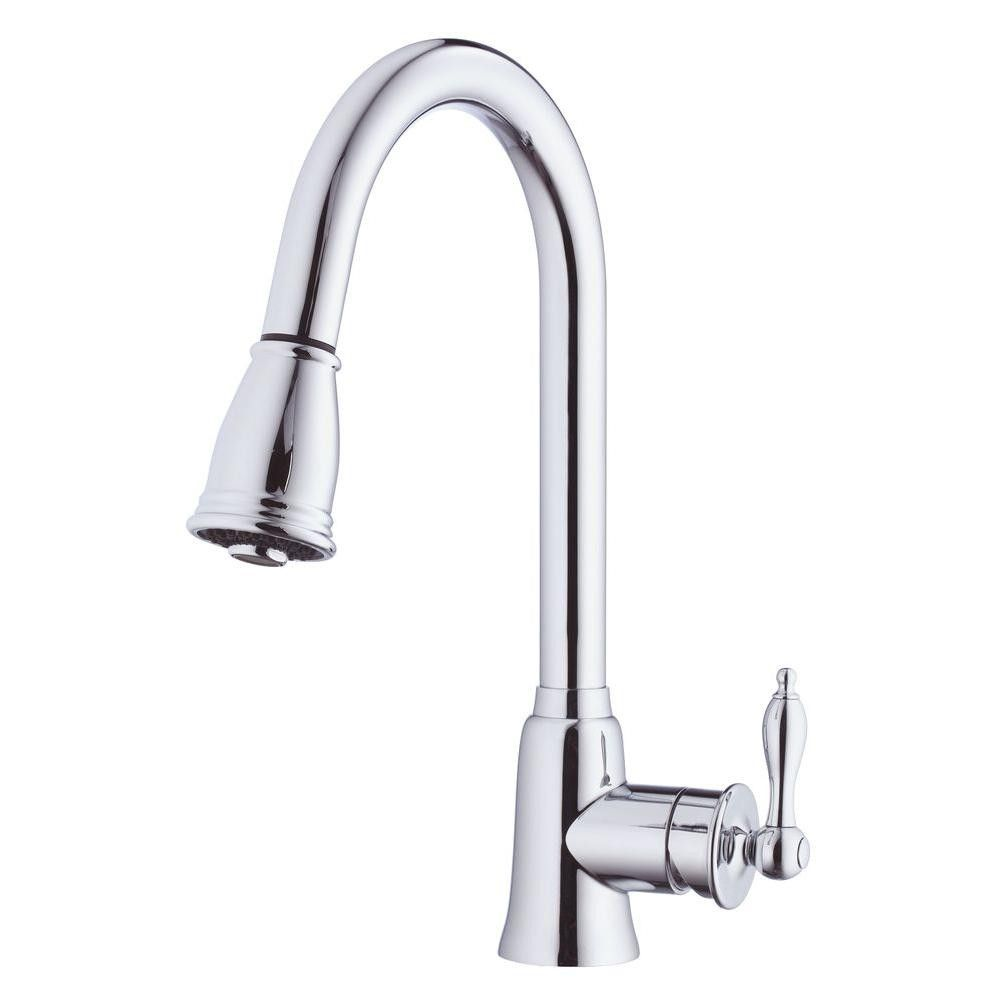 danze kitchen faucets Danze D Prince Single Handle Pull Down Sprayer Kitchen Faucet in Chrome