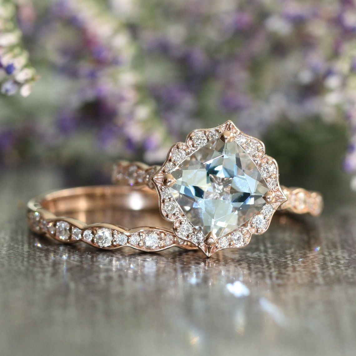 vintage wedding ring sets Vintage Floral Aquamarine Engagement Ring and Scalloped Diamond Wedding Band Bridal Set in 14k Rose Gold mm Cushion Gemstone Ring Set