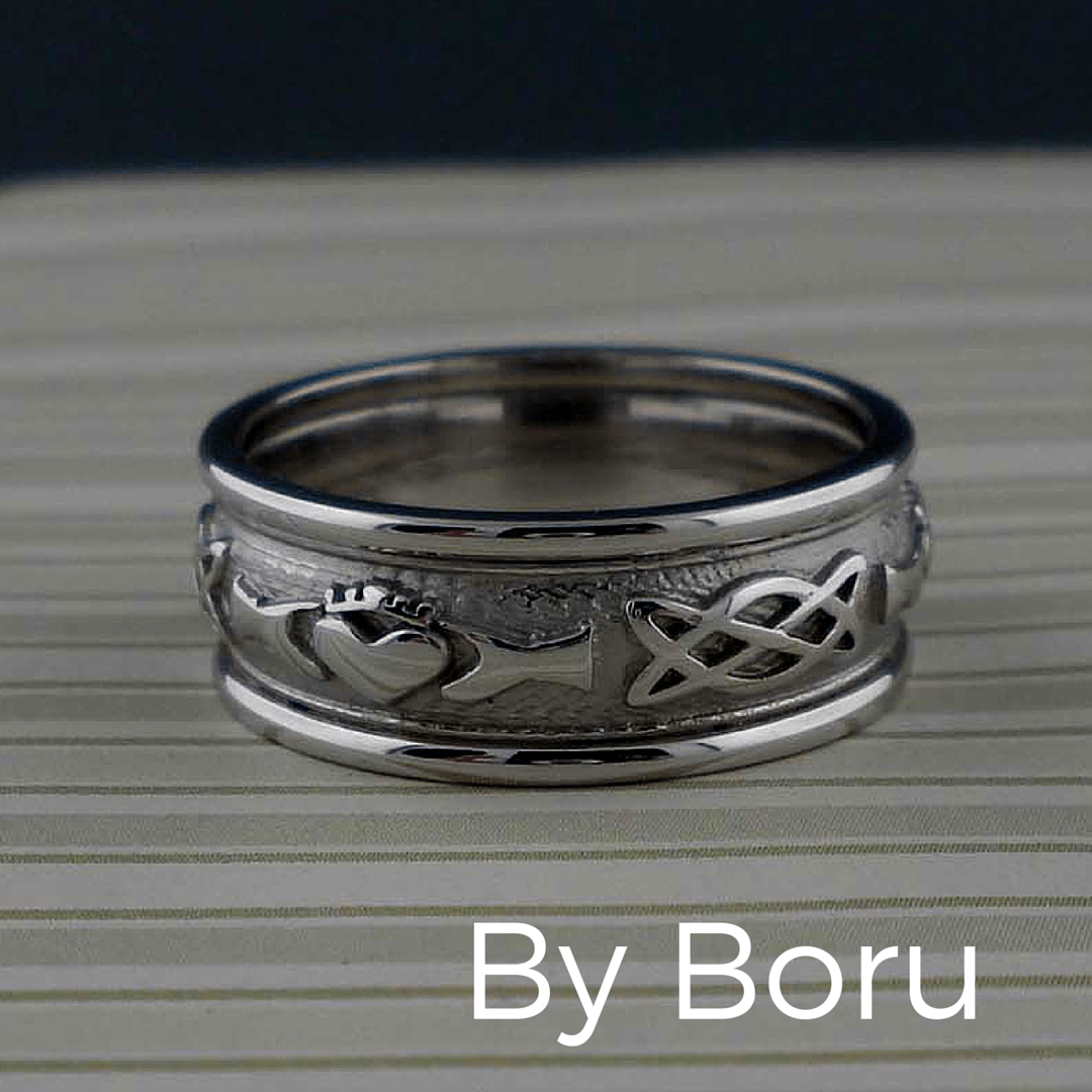 claddagh wedding bands Beautiful Celtic Claddagh Wedding Ring in 10K or 14K Gold for ladies and men Made