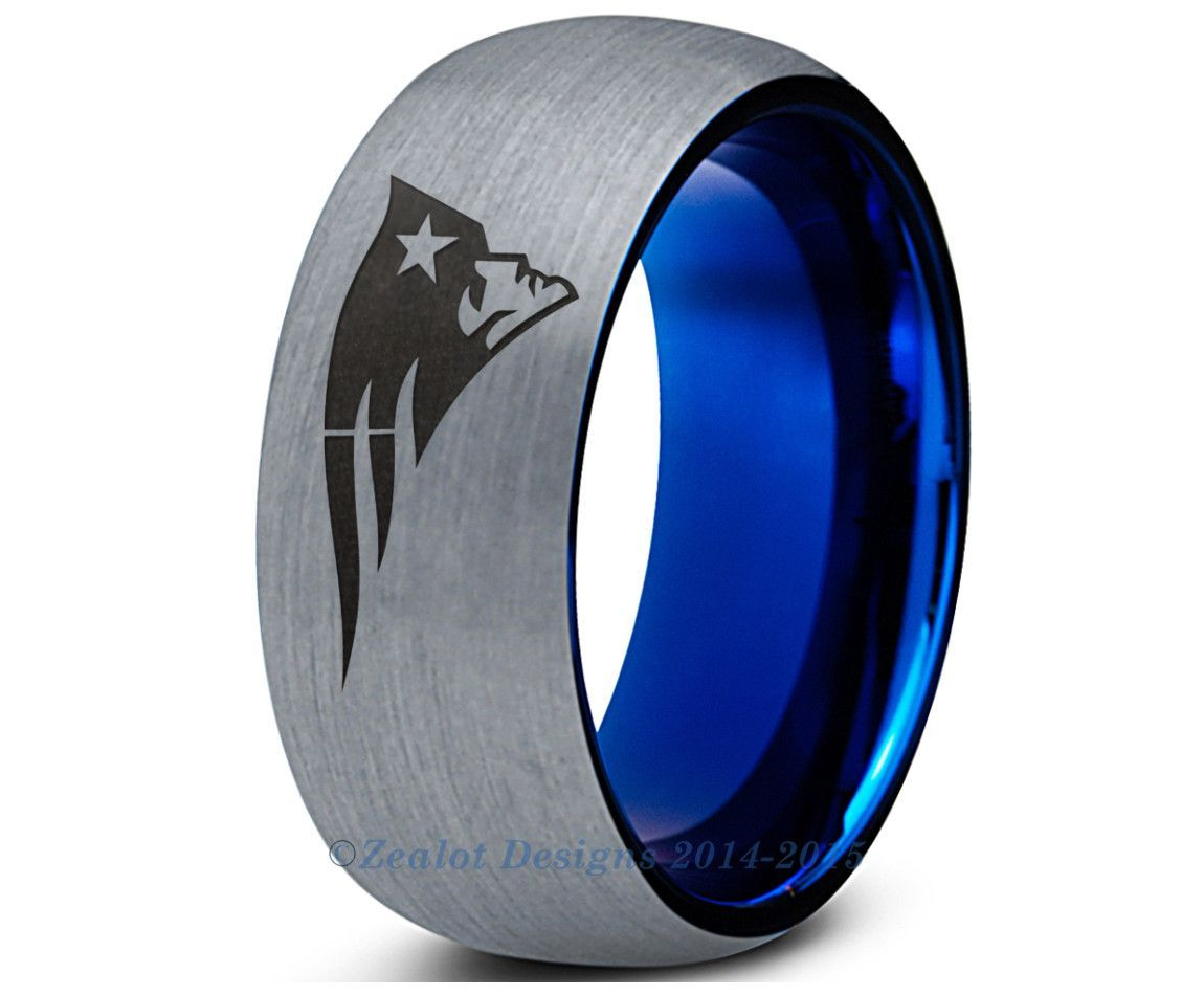 sports wedding bands New England Patriots Blue Tungsten Wedding Band Ring Mens Womens Brushed Dome Cut NFL Sports Tom