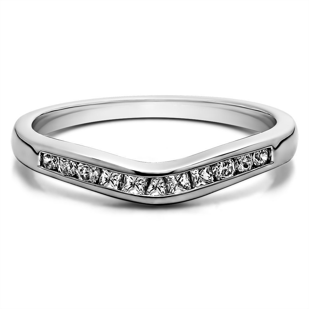 contoured wedding bands Sterling Silver Classic Style Gently Contoured Wedding Band mounted with Cubic Zirconia 0 33 Cts