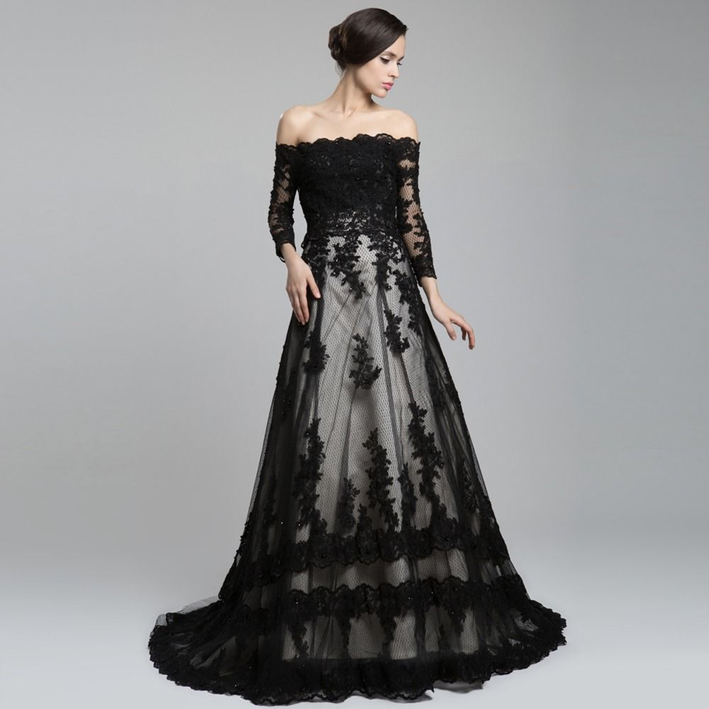 black wedding dress Off The Shoulder Long Sleeve Lace Long Train A Line Wedding Dress Black