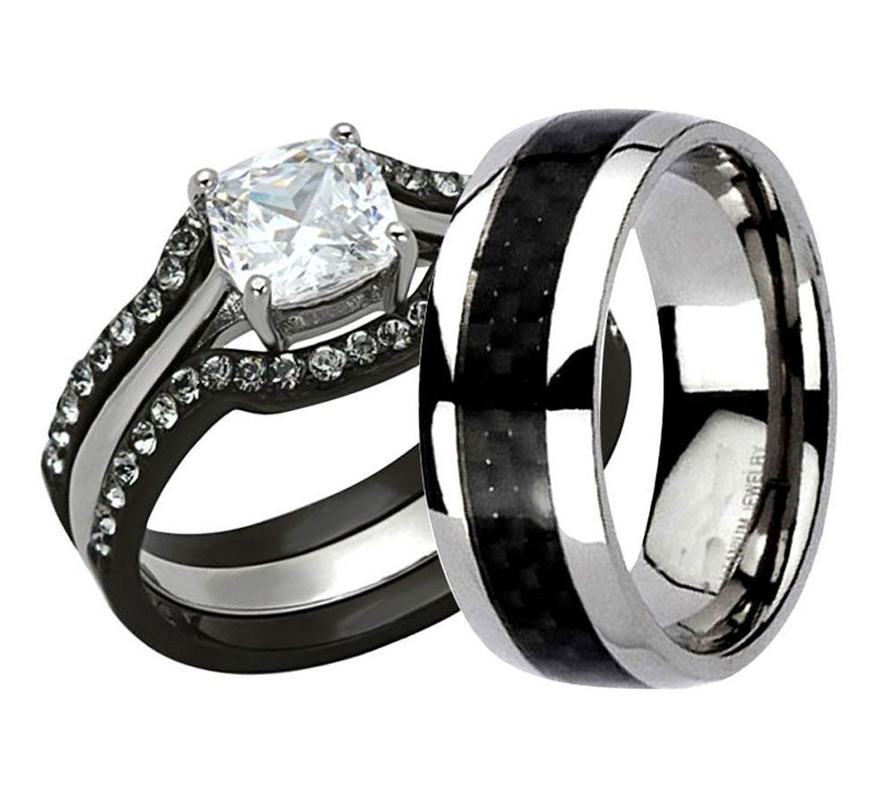 black wedding band sets His Hers 4 Pc Black Stainless Steel Titanium Wedding Engagement Ring Band Set LV