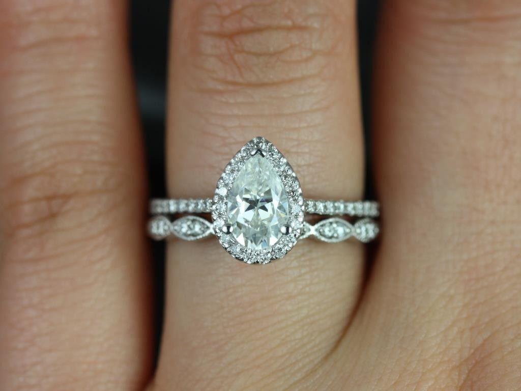 mismatched wedding bands halo wedding ring sets Rosados Box Tabitha mm Christie White Gold Pear FB Moissanite and Diamonds Halo Wedding Set