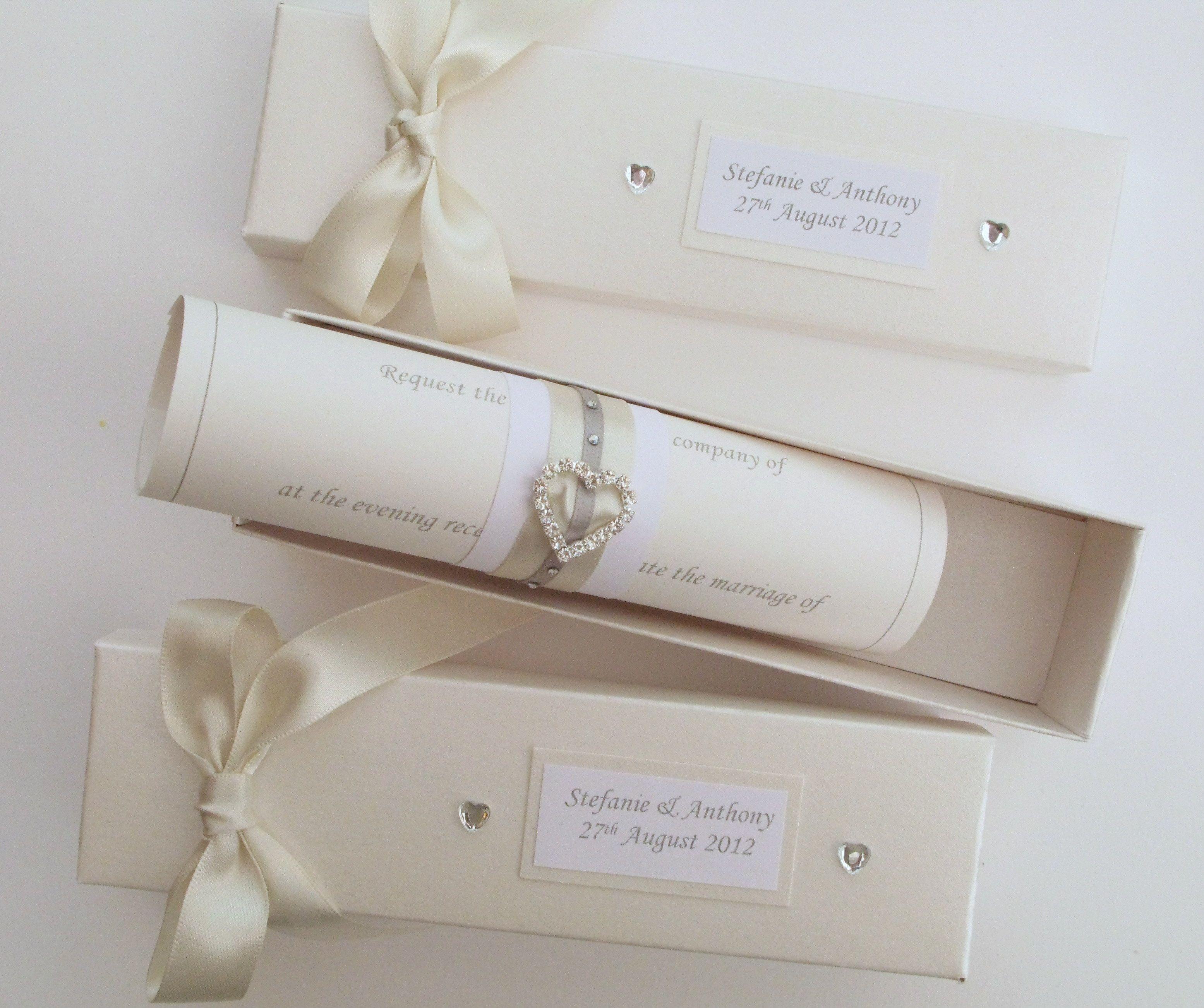 scroll wedding invitations Elegant Wedding Invitations with Crystals Scroll Wedding Invitations Carol Miller Designs wedding