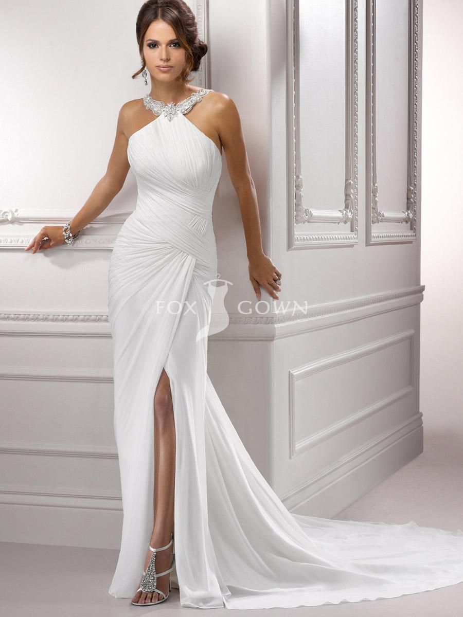 sexy short wedding dresses chiffon pleated bodice halter wedding gown with sexy side slit
