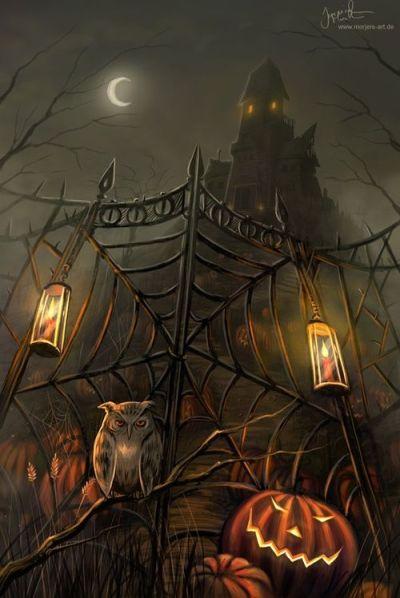 haunted house jack-o-lantern owl Halloween iPhone wallpaper background holiday Halloween art ...