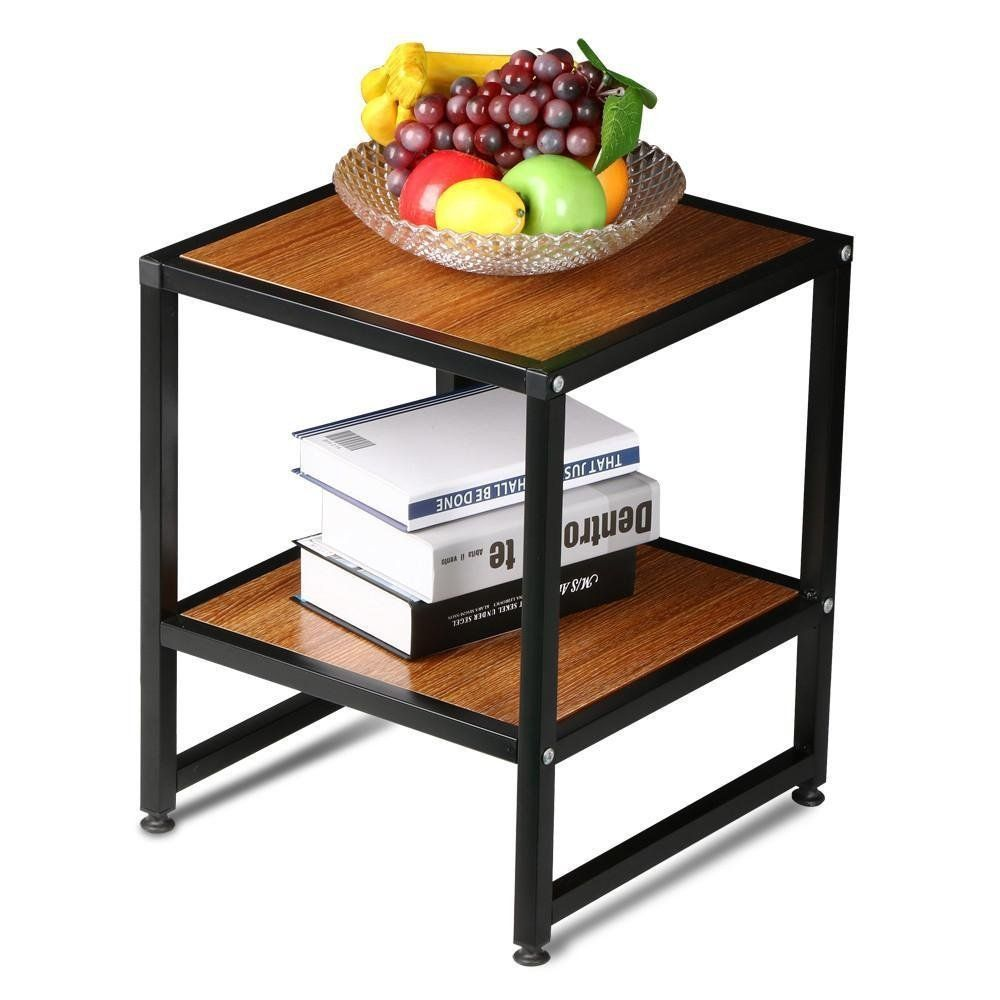 kitchen side table Amazon com Yaheetech 2 Tier 15 Square Wood Coffee Table Metal Legs Small