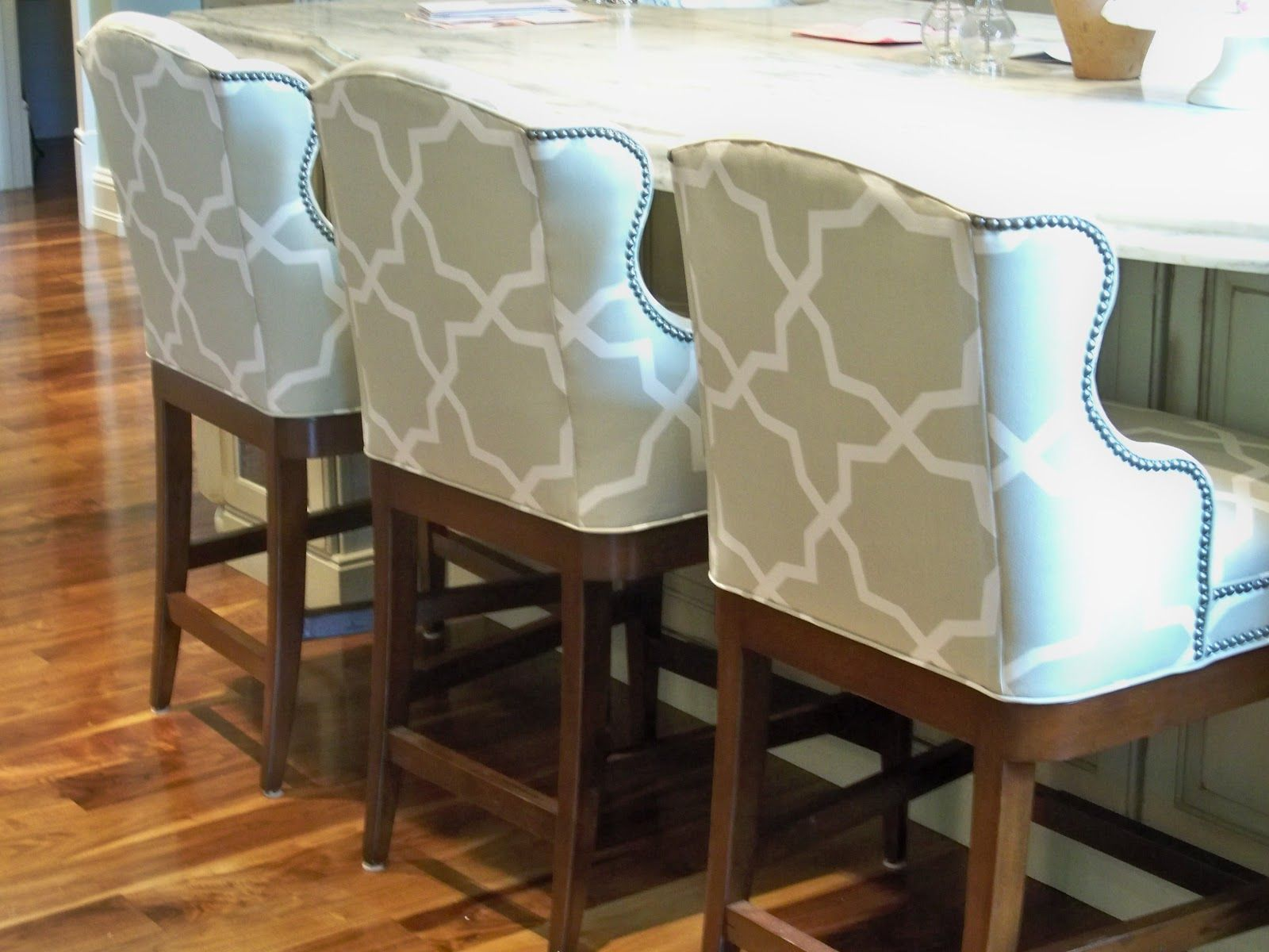 counter height stools counter height kitchen chairs Victoria Dreste Designs A New Home Part Two Vanguard counter stools with Kravet outdoor fabric