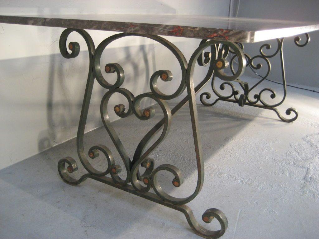 wrought iron kitchen chairs s French Wrought Iron Marble Top Dining Table