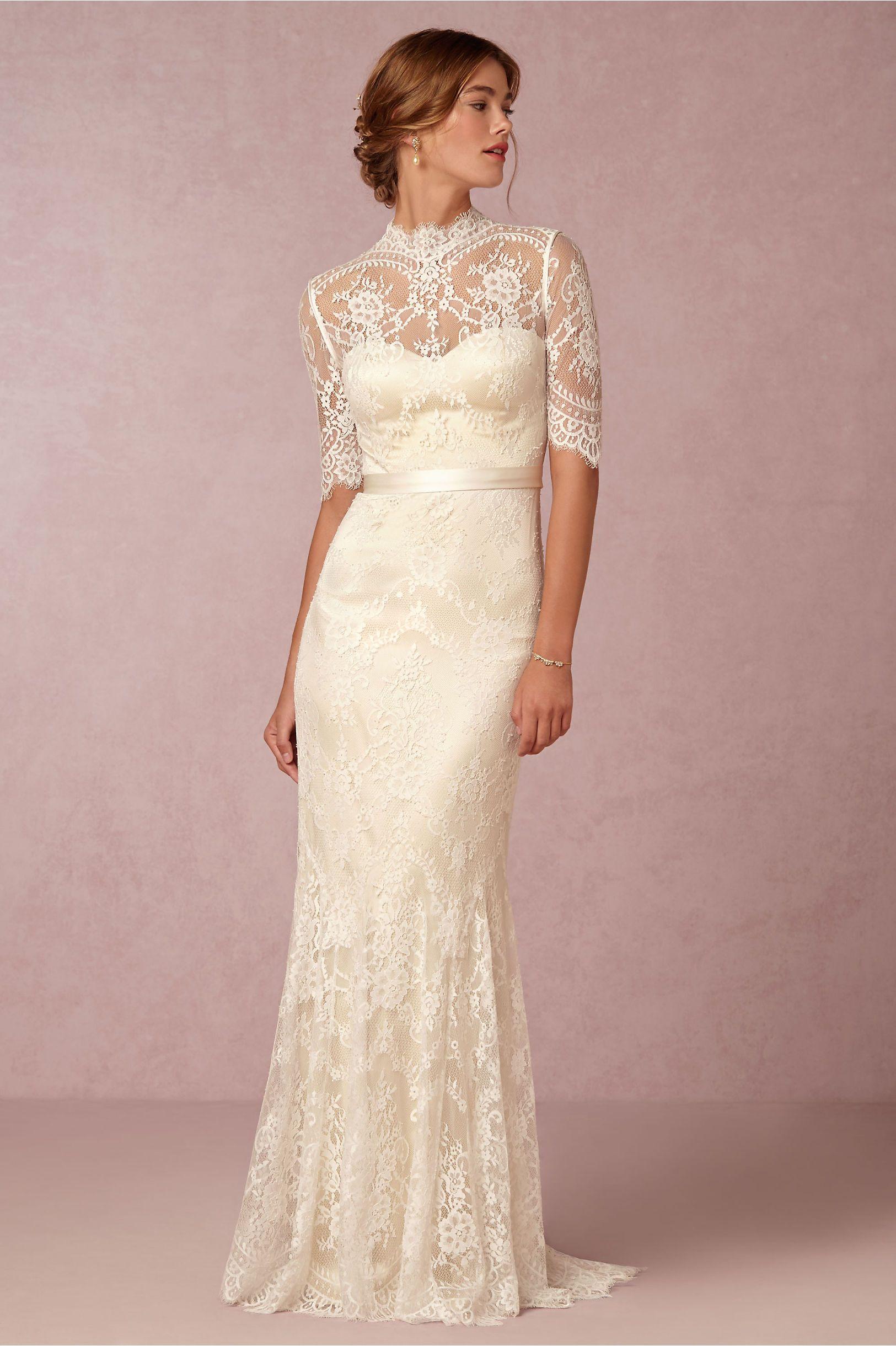 turtleneck wedding dress Bridgette STUNNING Cream Lace Column Sheath Wedding Gown Showcasing Half Lace Illusion