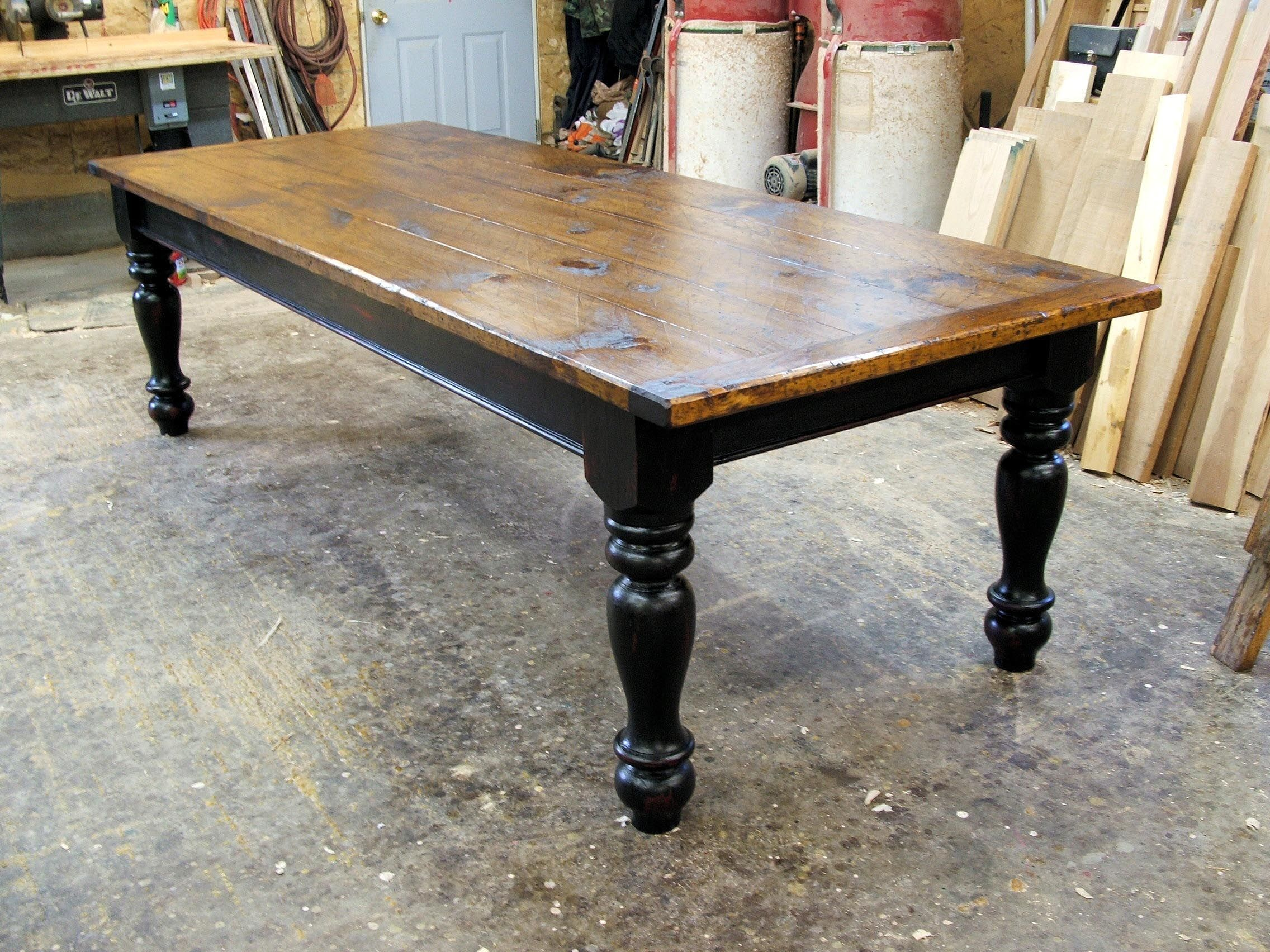 table custom kitchen tables farmhouse black tables Pine Farmhouse Table with Options Black over Red Base Custom Dining