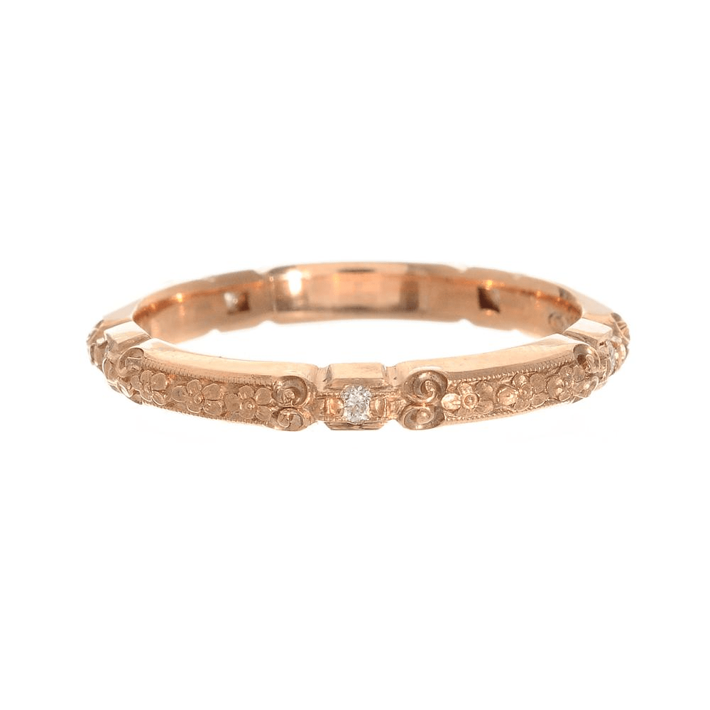 vintage wedding band Rose Gold Vintage Wedding Band Greenwich Jewelers Van Craeynest Diamond Floral Band