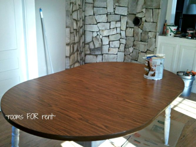 painting kitchen table Refinishing a large table with gel stain She has some good tips and achieved a nice effect Furniture Get Creative Pinterest Stains Java and Java