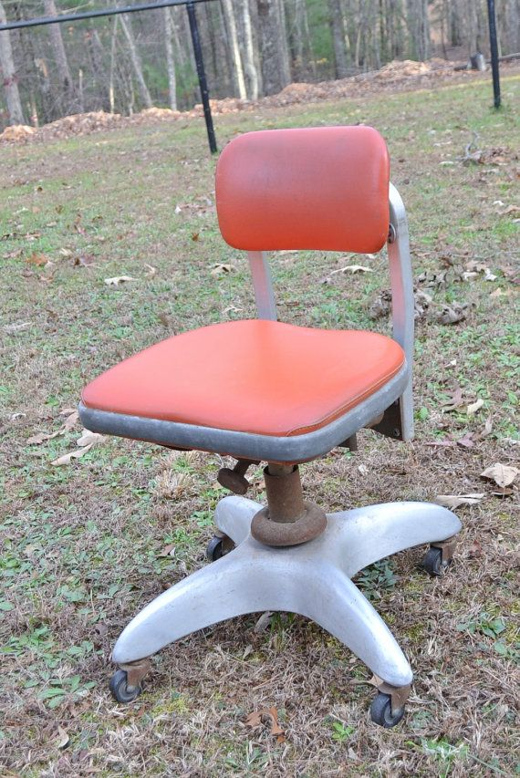 reserved sale vintage office chair metal good form general fireproofing co propeller style orange vinyl panchosporch chairs for sale l