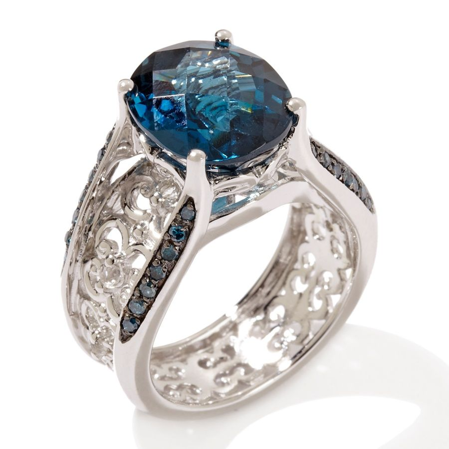 hsn wedding rings Victoria Wieck 5 33ct London Blue Topaz and Gemstone Sterling Silver Bridge Ring at HSN
