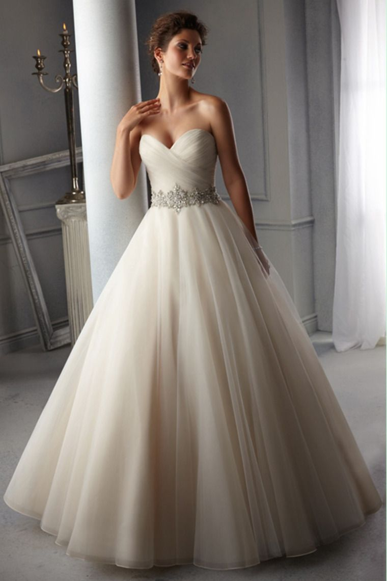 a line wedding dresses Sweetheart Pleated Bodice A Line Wedding Dress Beaded Waistline Organza Court Train