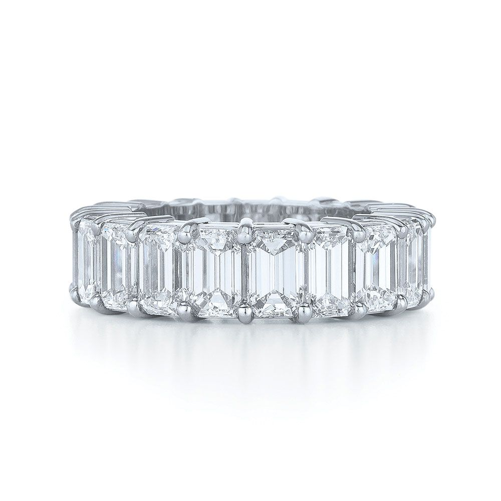 wedding ring band Emerald Cut Diamond Wedding Ring Emerald cut eternity band in a shared prong setting individual