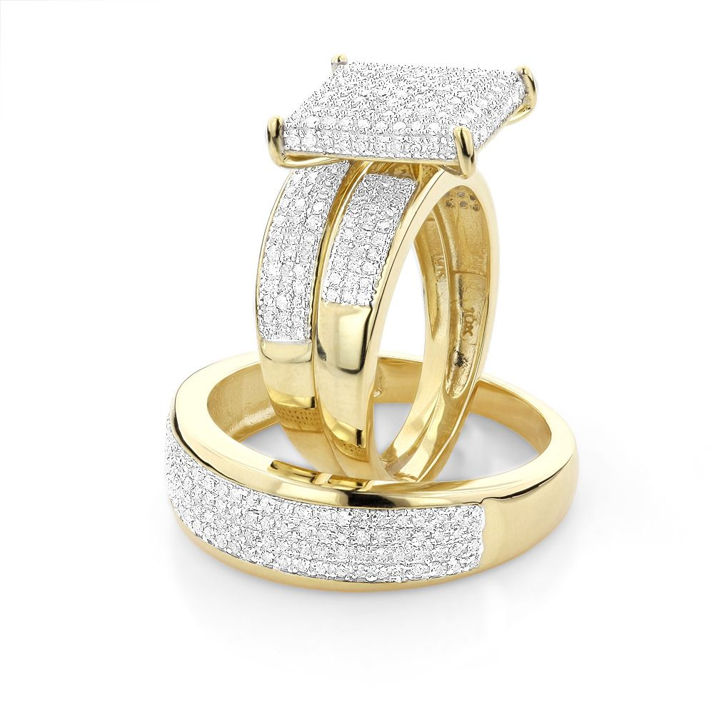 wedding rings set Affordable Trio Ring Sets Diamond Wedding Ring Set 1 25ct 10K Gold