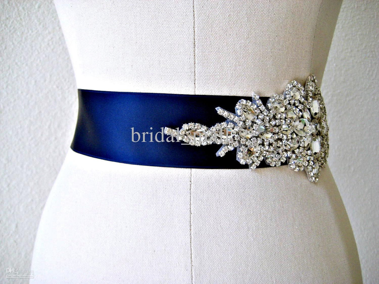 wedding dress belts Wholesale Bridal Sashes Belts Buy Glamourous Crystal Beadings Ribbon Royal Blue Wedding Dress Sash