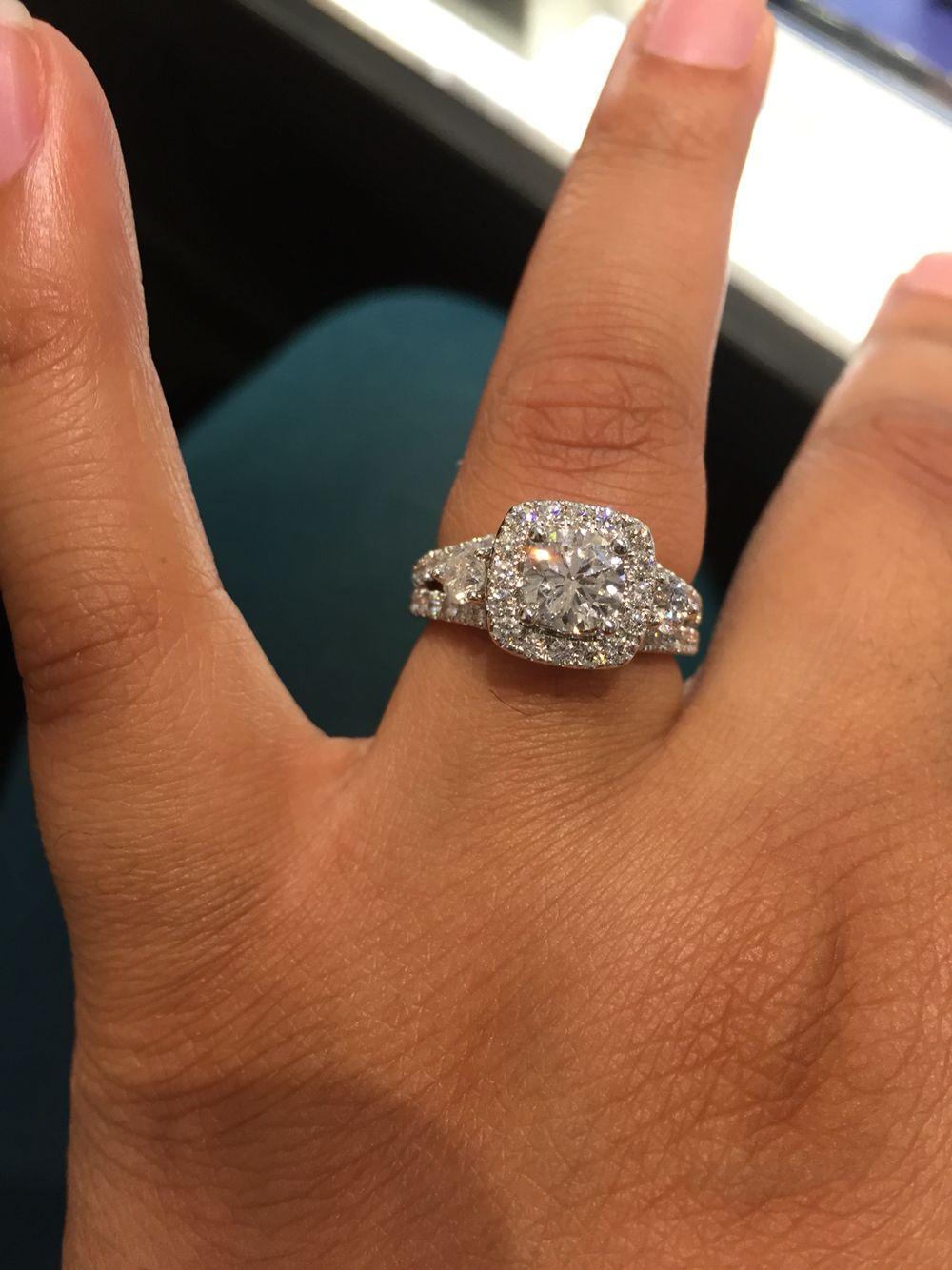 zales diamond wedding rings Zales Cushion Cut Halo Grand Celebration Engagement Ring 12
