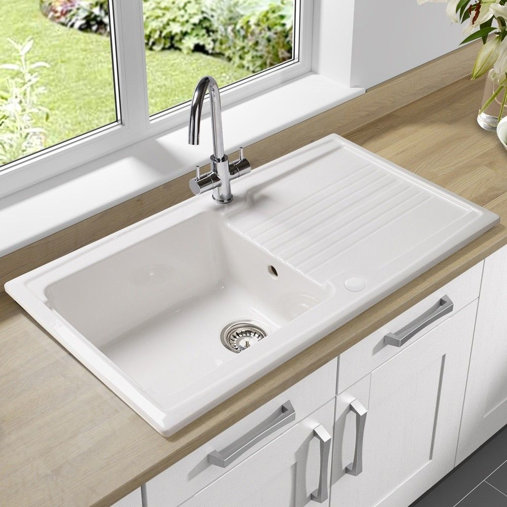 white kitchen sink undermount single bowl undermount sink with drain board made of porcelain in white finish