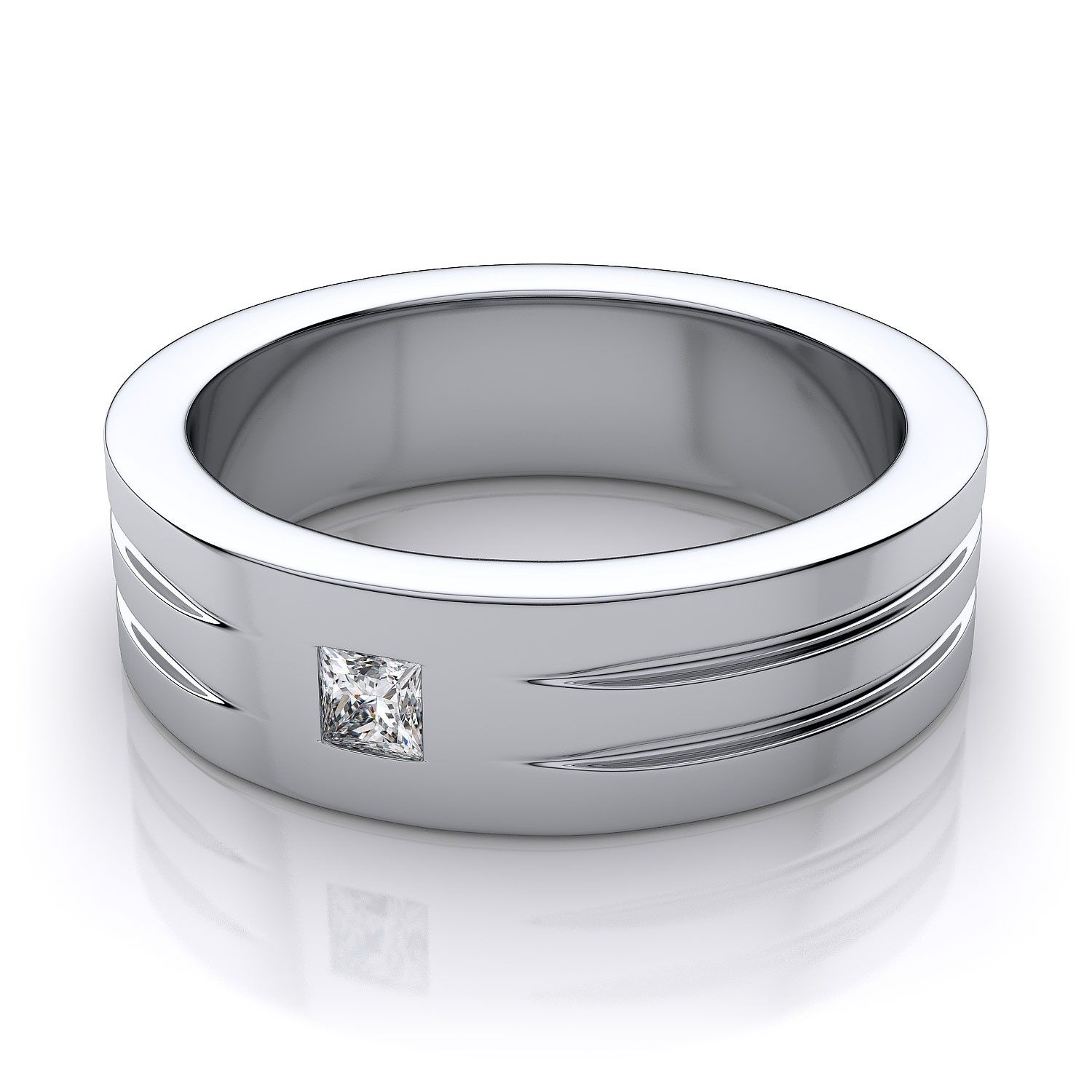 platinum diamond wedding bands Men s Princess Cut Diamond Wedding Ring in 18k White Gold