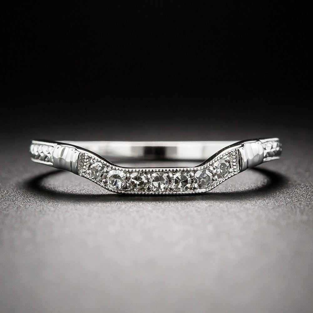 contour diamond wedding band Art Deco Style Square Contour Wedding Band