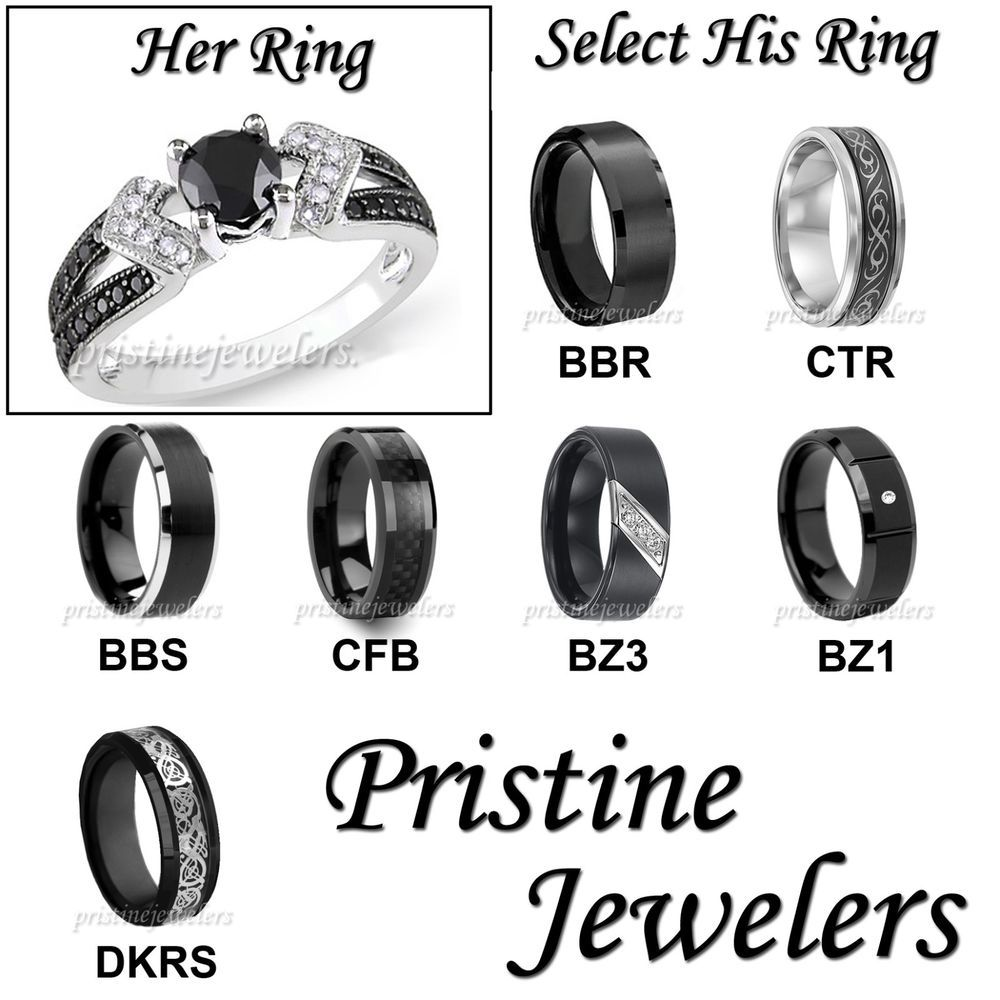 black wedding band sets His Hers Wedding Ring Womens Sterling Mens Silver Black Tungsten Band SET