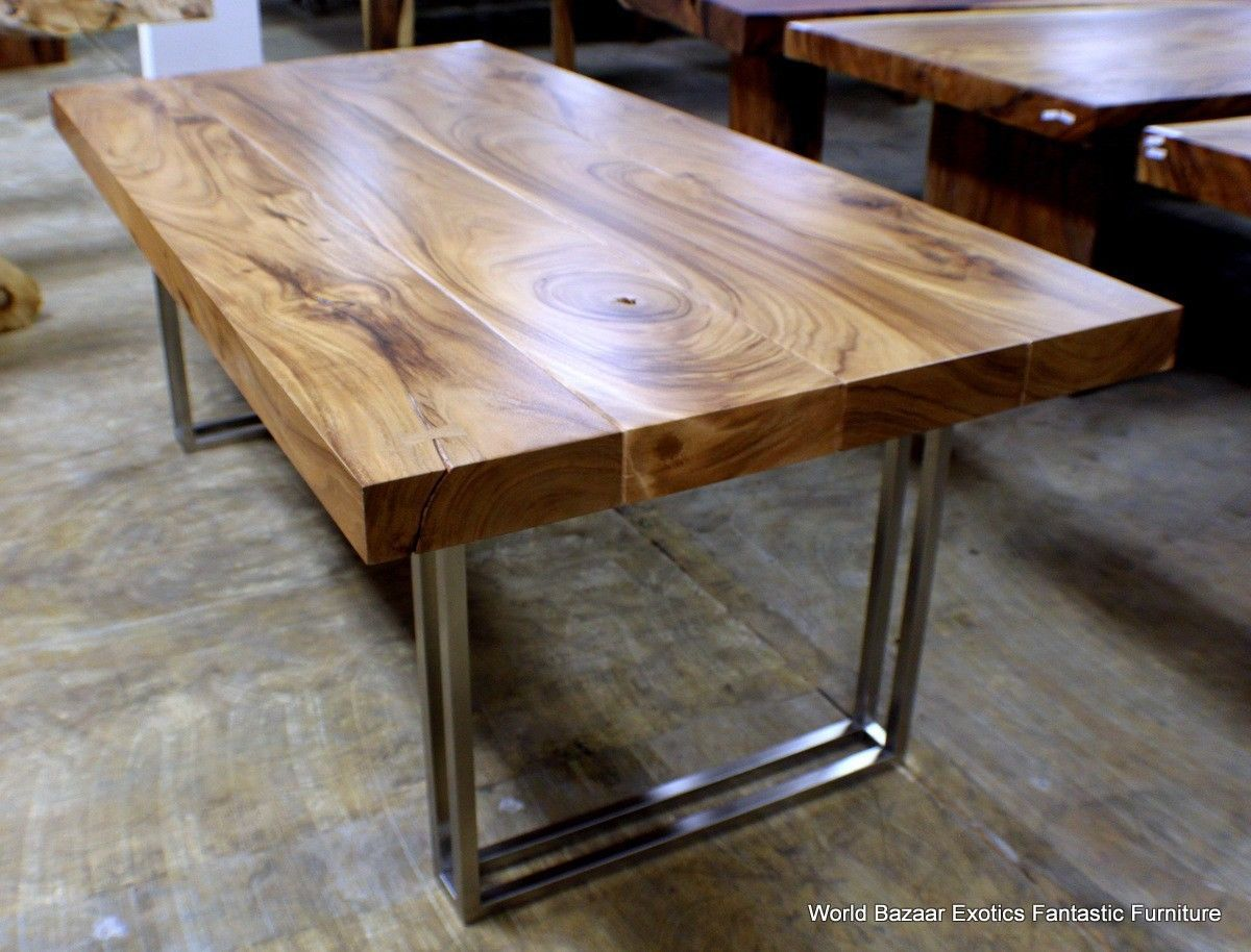 stainless steel table top stainless steel kitchen table 79 L modern desk Dining table Exotic solid Acacia wood stainless steel legs