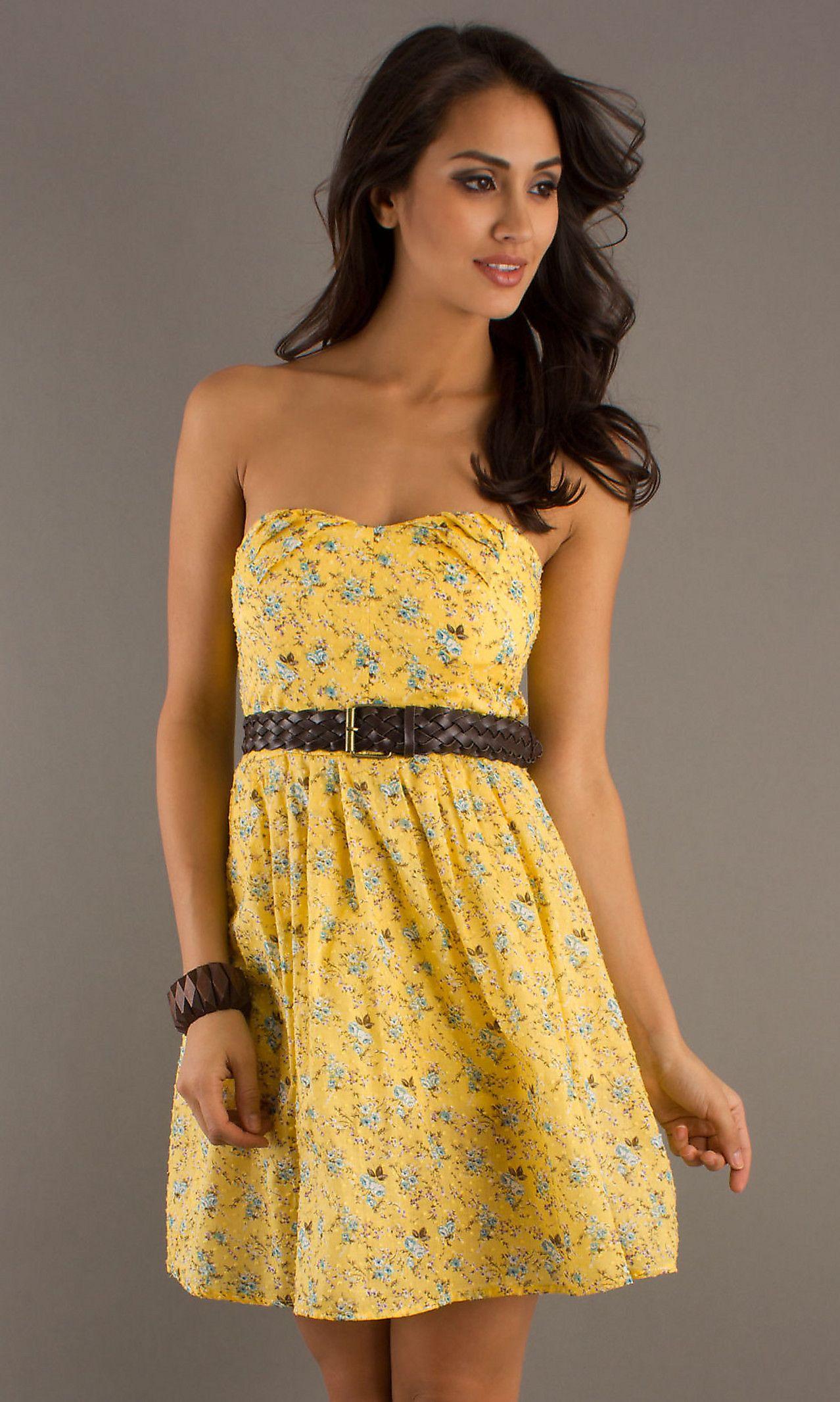 summer dresses for weddings Short Strapless Yellow Summer Dress
