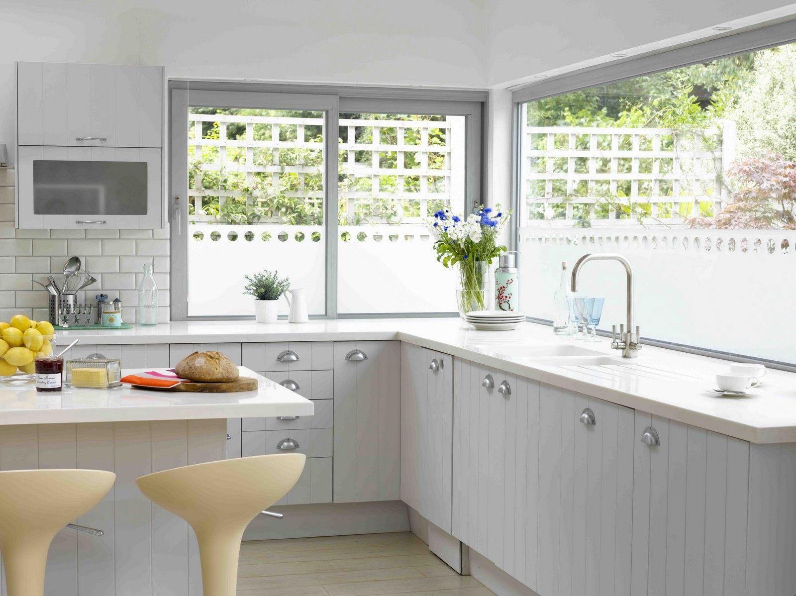 kitchen window ideas Kitchen Window Design Ideas Using Chrome Faucet with