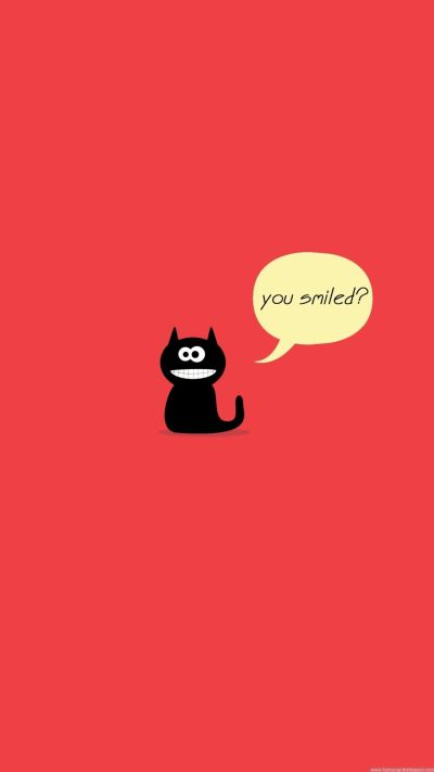 TAP AND GET THE FREE APP! Fun You Smiled Red Cute Black Cat Kitten Kitty Smile Funny Simple ...