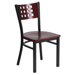 Flash Furniture Hercules 17 5 in Metal and Wood Cutout Back